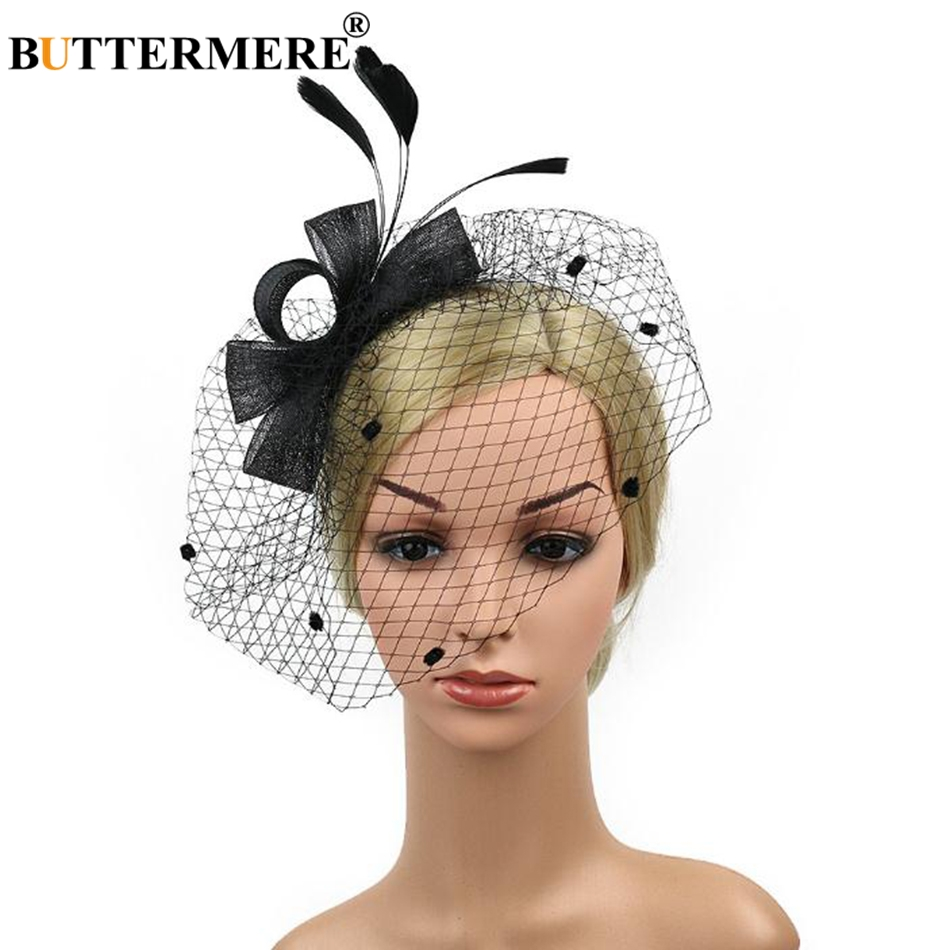 BUTTERMERE Wedding Hat With Veil Black Fedora Women Feather Bride Hat For Party  Cap Ladies Elegant Fancy Bowknot Pillbox Hat Red-in Fedoras from Apparel ... 9afa95869fef