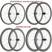 700C Disc Brake Wheels Cyclocross Wheels 30mm 40mm 45mm 55mm Carbon 25mm Tubeless Carbon Bicycle Disc Wheelset 6 Bolt/Centerlock