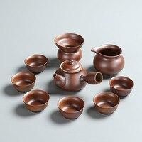 Cerâmica bruta estilo japonês  conjunto de chá  conjunto de cerâmica  novo estilo  chai velho  bule de chá alto  bule  caixa de presente  encadernação. Jogos de chá     -