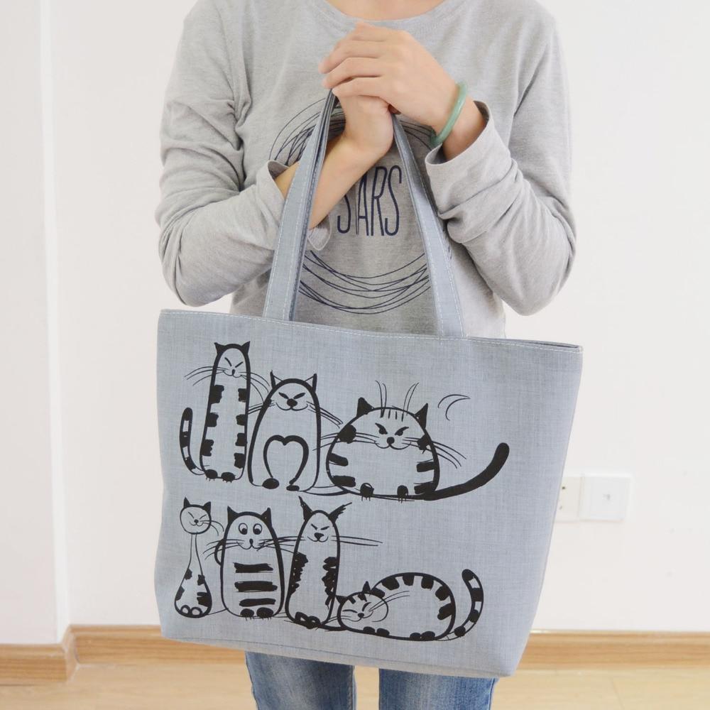 product Famous Brands 2016 Cartoon Cats Printed Beach Zipper Bag Bolsa Feminina Canvas Tote Shopping Handbags sac a main femme de marque