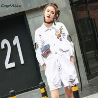 2017 Women White Badage Tassel Hole Denim Jumpsuit Casual Overalls Loose Jeans Ribbon Salopette Loose Playsuit