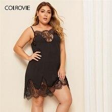 COLROVIE בתוספת ריס פרחוני תחרה Cami שמלת נשים שחור סקסי כותנות לילה 2019 קיץ ללא שרוולים Cami מוצק לילה שמלות