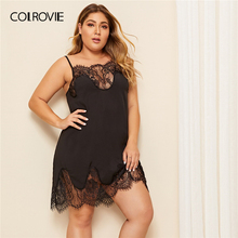 COLROVIE Plus Eyelash Floral Lace Cami Dress Women Black Sexy Nightgowns 2019 Summer Sleeveless Cami Solid Night Dresses
