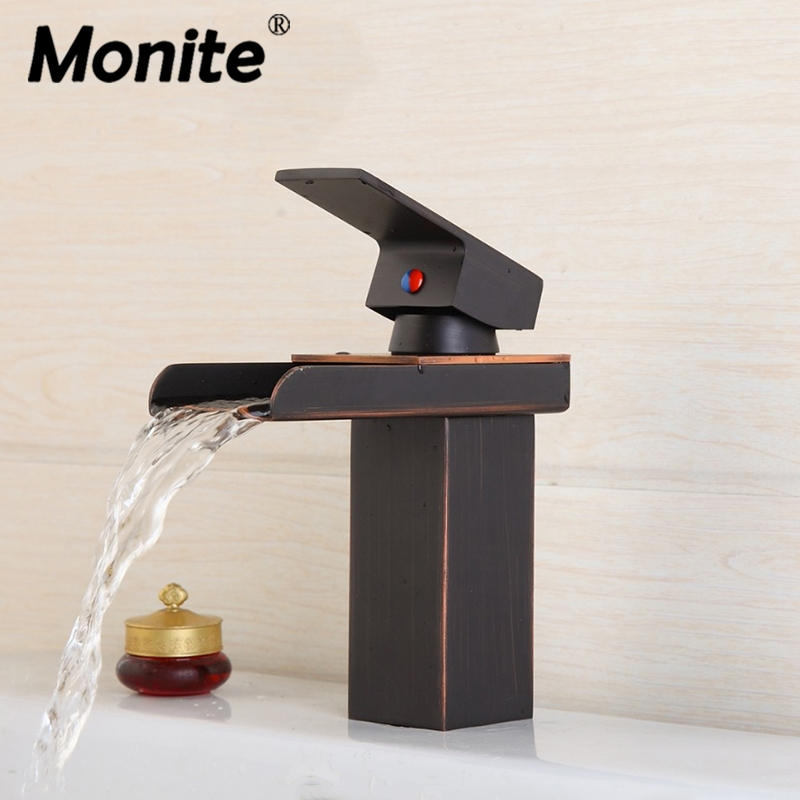 Oil Rubbed Bronze Waterfall Bathroom Basin Sink Brass Mixer Tap Vanity Faucet ORB Finish Wide Spout Water Mixer Tap цена 2017