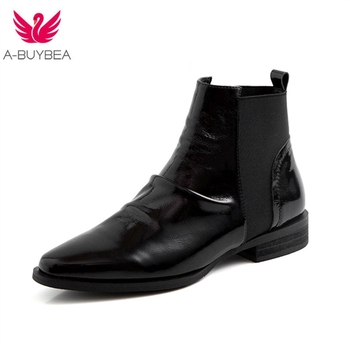 Cow Patent Leather Women Ankle Boots Elastic Band Low Heels Black Women's Winter Chelsea Boots Slip-on Boots For Women Size 40