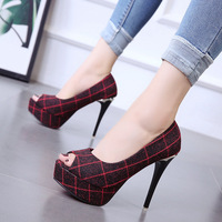 2018 autumn new fish mouth stiletto heels waterproof platform single shoes women's flannel shallow mouth 34 women's shoes.
