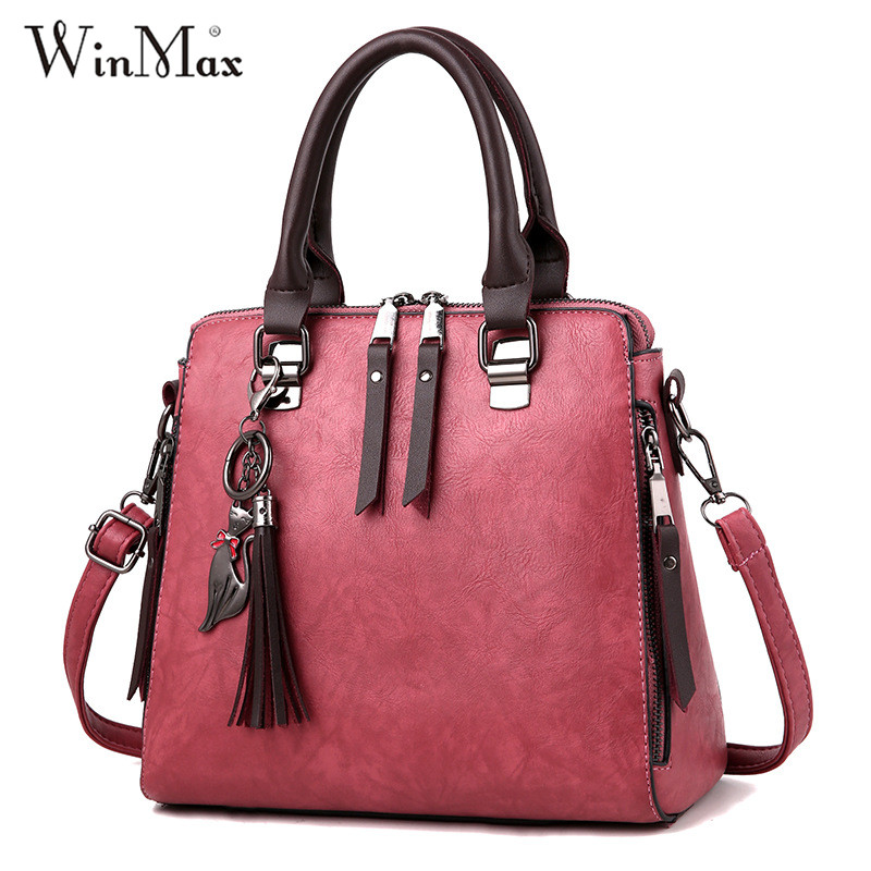 Winmax Famous Brand PU Leather Ladies Handbags Luxury Top-Handle Shoulder Bag Large Capacity Crossbody Bag Women Casual Tote Sac fashion women handbags famous brand luxury designer shoulder bag ladies large tote high quality black pu leather top handle bags