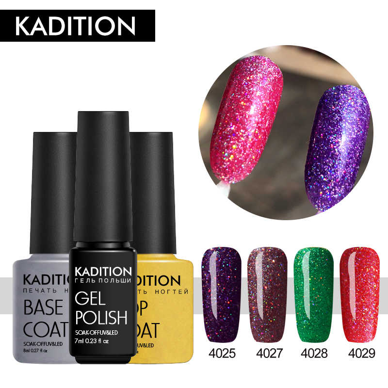 Kadition 7 Ml Neon Gel Nail Polish Rendam Off Mengkilap Bling Glitter Gel Polish Semi Permanen Uv Gel untuk kuku Gellac Cat Kuku