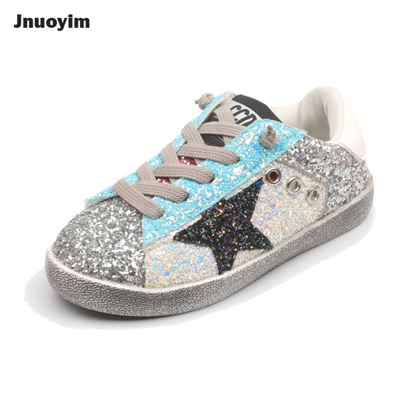 Spring Autumn Fashion Star Children Shoes Shining Sequins Girls Boys Canvas Shoes Kids Casual Sneakers Gold