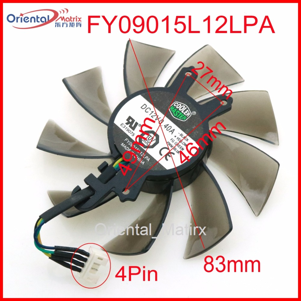 Free Shipping FY09015L12LPA 12V 0.40A 4Pin 83mm VGA Fan For GALAX GEFORCE GTX 980 TI HOF Graphics Card Cooler Cooling Fan free shipping 90mm fan 4 heatpipe vga cooler nvidia ati graphics card cooler cooling vga fan coolerboss