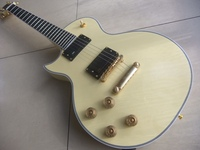 Free Shipping Custom Shop guitar in Lef Handed No Inlay on the fingerboard in cream 110118