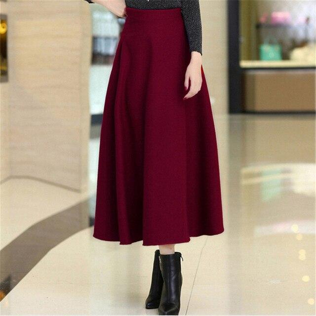 Nuevo invierno mujer faldas de lana elegante elástico Maxi alta cintura falda  mujeres grueso de lana fa1797958ff5