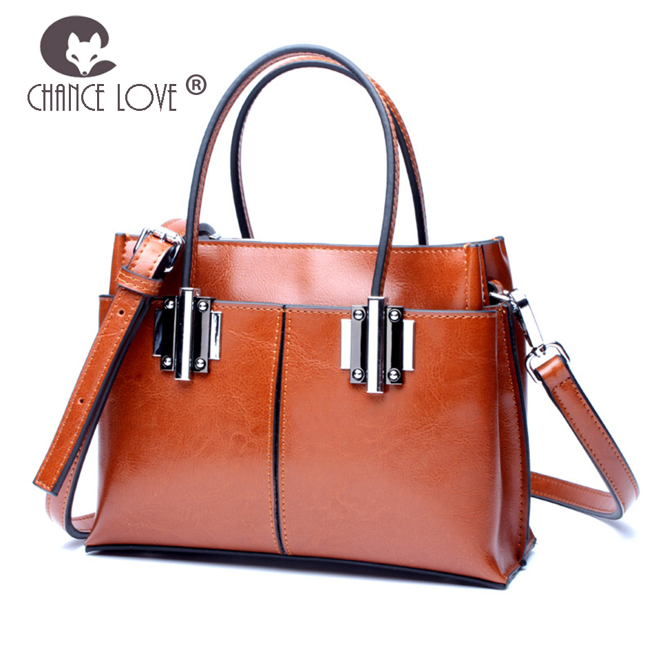 Chance Love Women's bag 2018 new Genuine leather handbag Classic vintage oil wax leather wild casual messenger bag female chance love 2018 new genuine leather women s handbag oil wax leather fashion wild crocodile pattern shoulder bag messenger bag