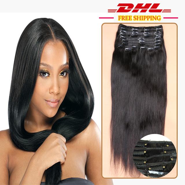 Clip en Extensiones de Cabello Humano 120g Clip en la Extensión Del Pelo Brasileño de la Virgen Recta Del Pelo Humano Ins Clip De Negro pelo