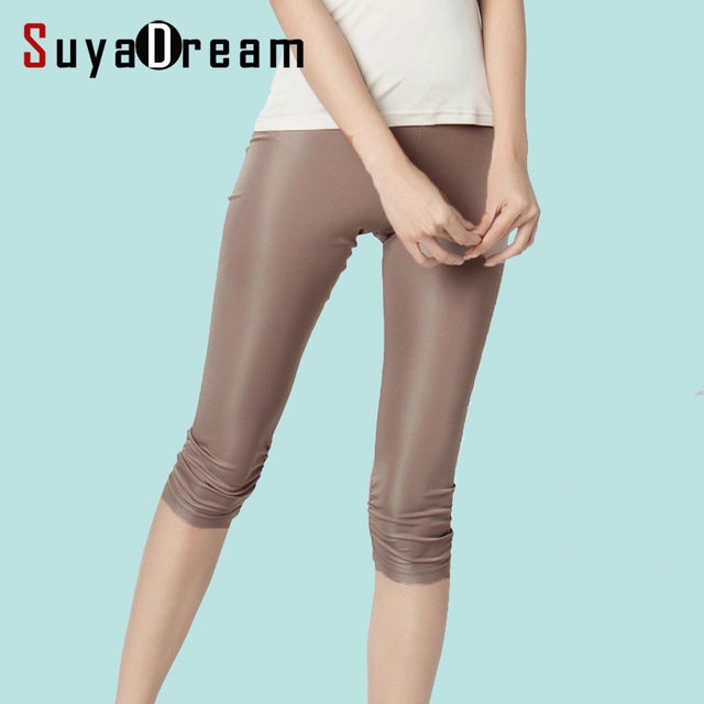 $ US $18.71 Women Leggings 100%Real Silk 3/4 length pants slim leggings Plus size Anti emptied bottoming pants light colors Black White