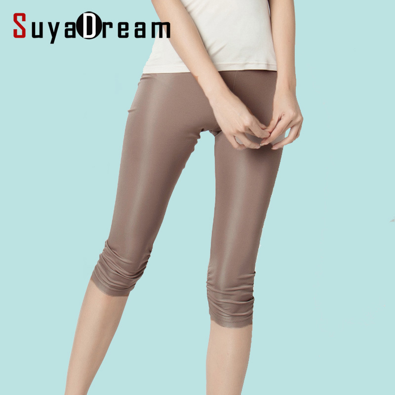 Women   Leggings   100%Real Silk 3/4 length pants slim   leggings   Plus size Anti emptied bottoming pants light colors Black White