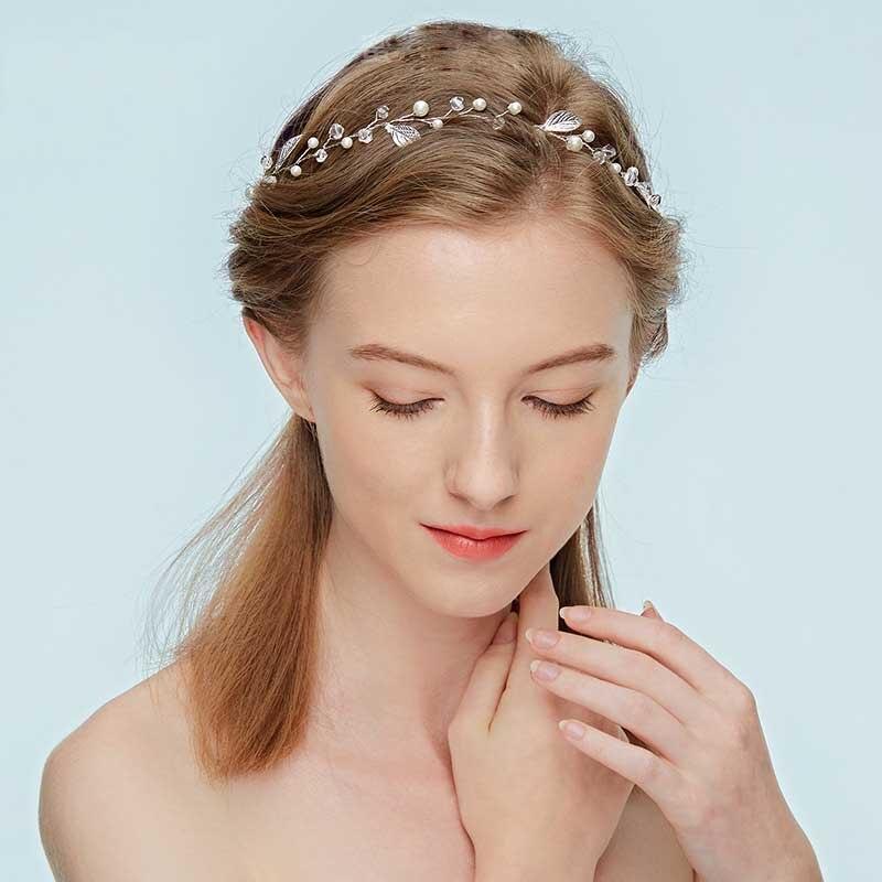 Women Girl Silver Crystal Leaf Party Hair Head Band Headband Hoop headpiece