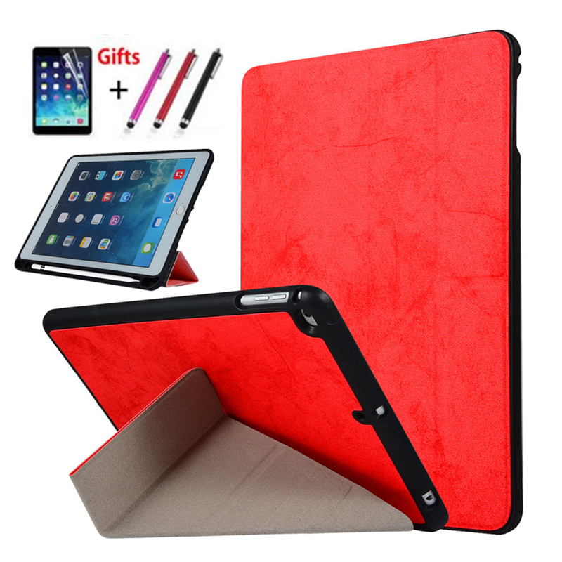 Case for iPad 9.7 2017 2018 PU Leather+Ultra Slim Light Weight soft silicon back Cover for iPad Air 1 2 With Pencil Holder