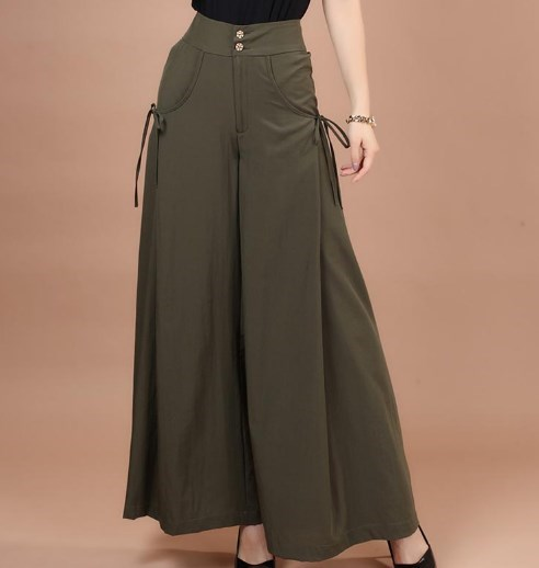 Women High Waist Pleated Trousers Stretch Palazzo Pants for Women Solid Loose Maxi Wide Leg Pants