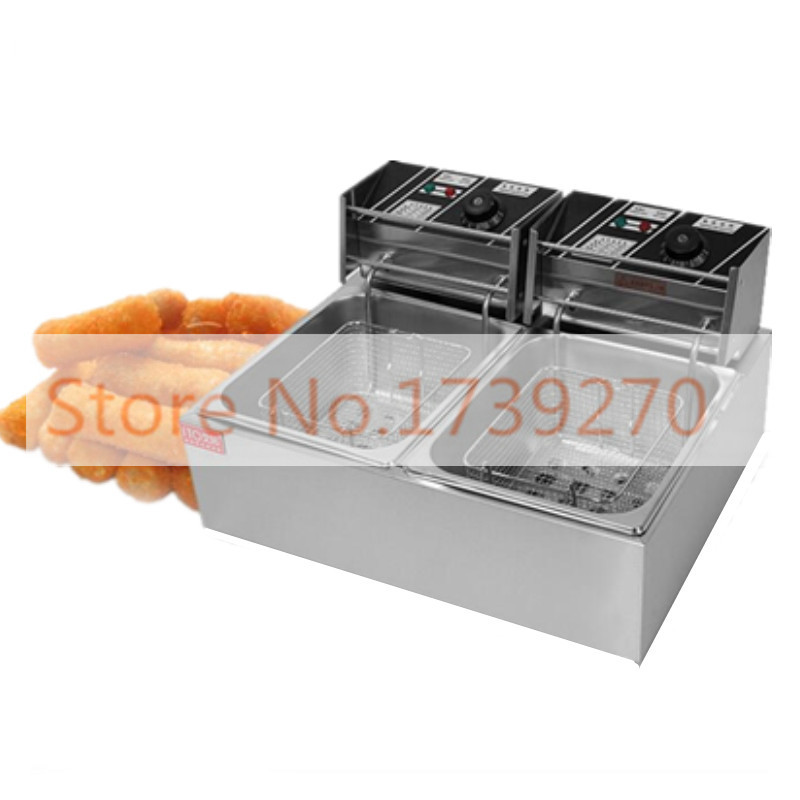 5.5L*2 commerial use electric fryer,stainless steel  fryer for Spiral Potato/Twister Potato/Tornado Potato/Fry /Churros/Chicken  220v 12l electric deep fryer for spiral potato twister potato tornado potato fry potato churros chicken