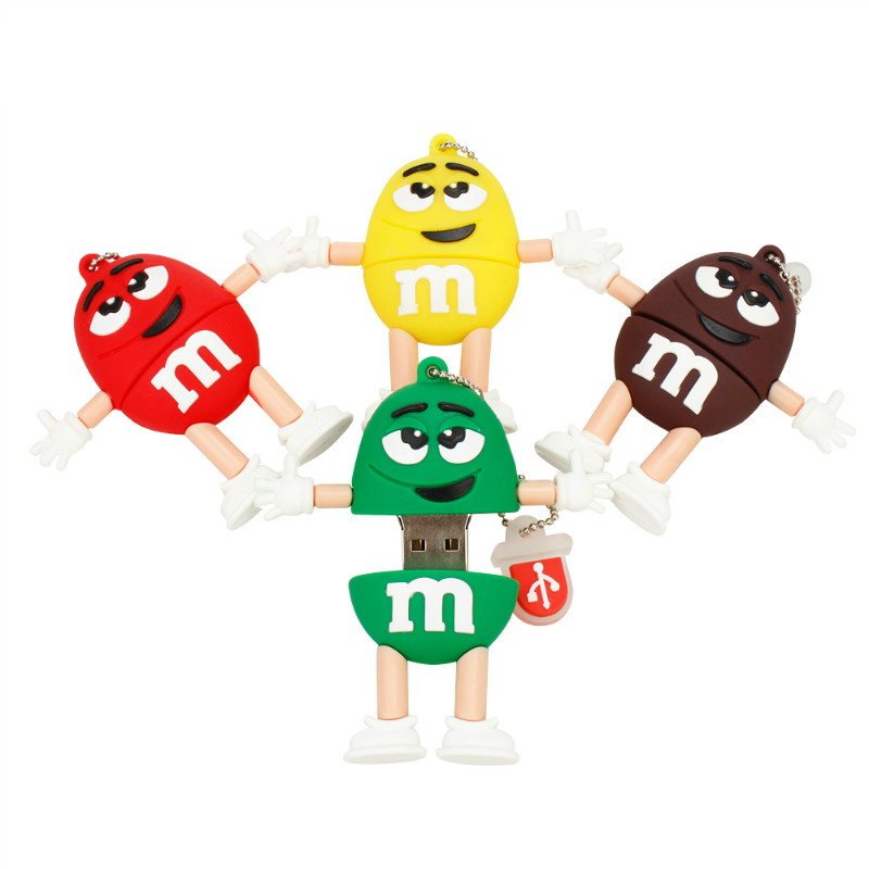 New Chocolate M&M USB Flash Drive 32GB 64GB 128GB Pen Drive 16GB Flash Memory U Disk 8GB 4GB High Quality Pendrive Free Shipping-in USB Flash Drives from Computer & Office