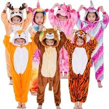 Купить с кэшбэком Children Unicorn Tiger Lion Fox Sika Deer Kigurumi Kids Onesies Pajamas Cosplay Costume for Halloween Carnival Party