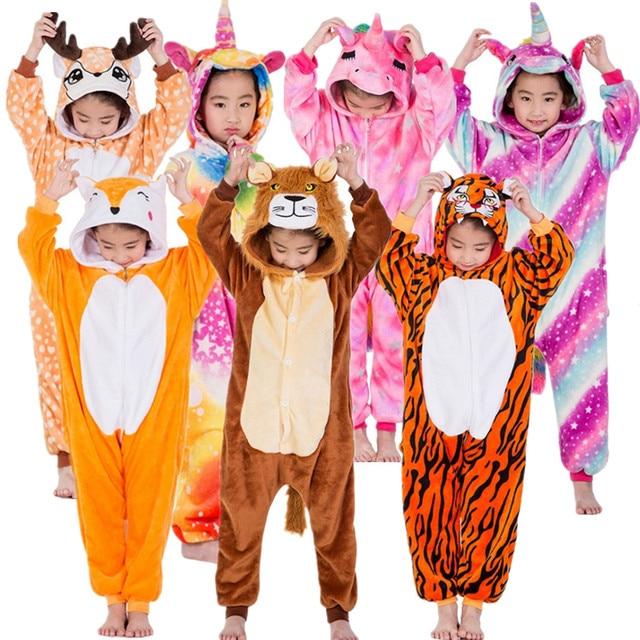 b30ccbe4c Children Unicorn Tiger Lion Fox Sika Deer Kigurumi Kids Onesies Pajamas  Cosplay Costume for Halloween Carnival Party