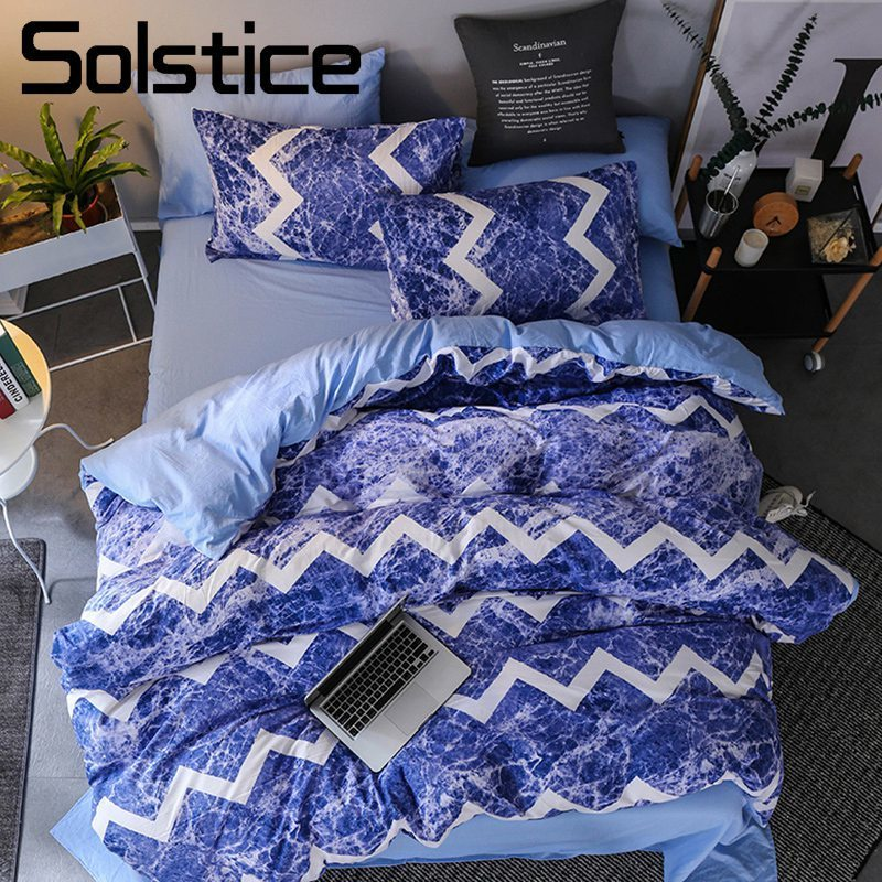 Solstice Home Textile Blue Ocean Waves Bedding Set Kid Boy Linen Duvet Cover Pillowcase Bed Sheet Girl Teen King Twin Bedclothes