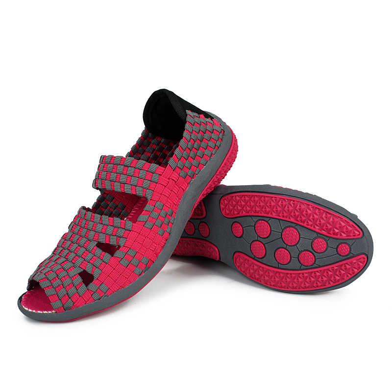 EOFK ผู้หญิงรองเท้าแตะ Handmade ทอรองเท้าแบนรองเท้าผู้หญิง 2019 แฟชั่นฤดูร้อน Breathable Casual Slip - On สีสันหญิงรองเท้า