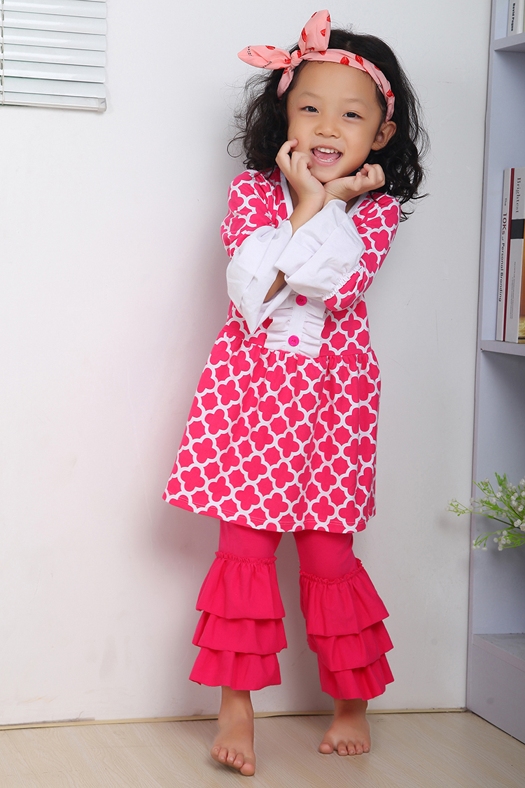 Christmas dress boutiques - Christmas Clothes Fall Suit Hot Pink Girls Outfit Girl Boutique Clothing Ruffle Pants Long Sleeve Christmas