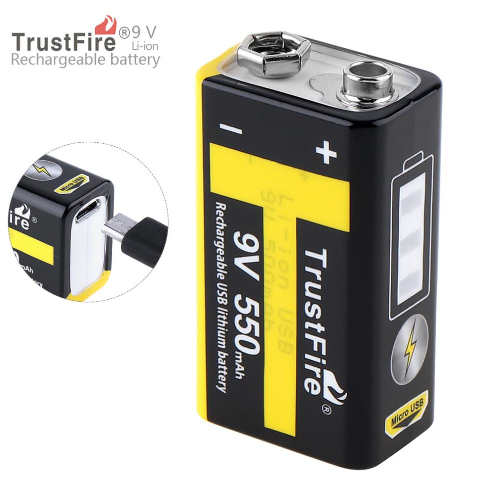 Batteries Trustfire 9v 550mah Rechargeable Usb Lithium Battery With Safety Relief Valve And Led Indicator For Wireless Microphone