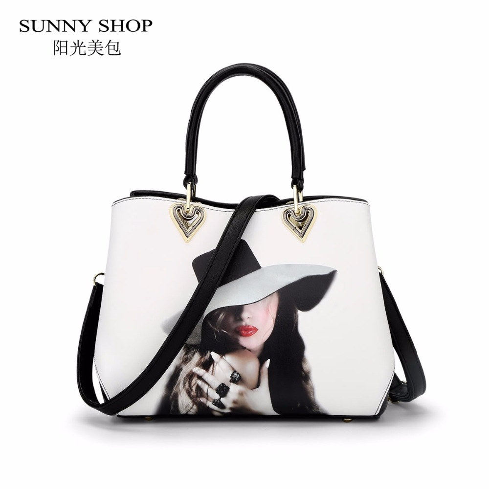 SUNNY SHOP Winter New Cartoon Floral Printing Tote Bag Stylish Purse And Handbags For Women Red Rose Shoulder Bags Designer
