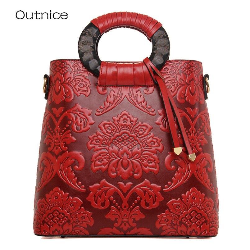 цены 2017 Fashion Embossed Leather Women Handbag Quality Leather Women Bag Vintage Shoulder Bag Chinese Style Ladies Bag sac a main