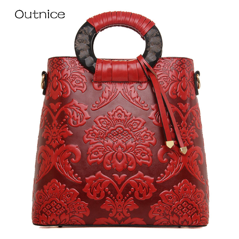 2018 mode en cuir en relief femmes sac à main en cuir de qualité femmes sac Vintage sac à bandoulière Style chinois dames sac à main
