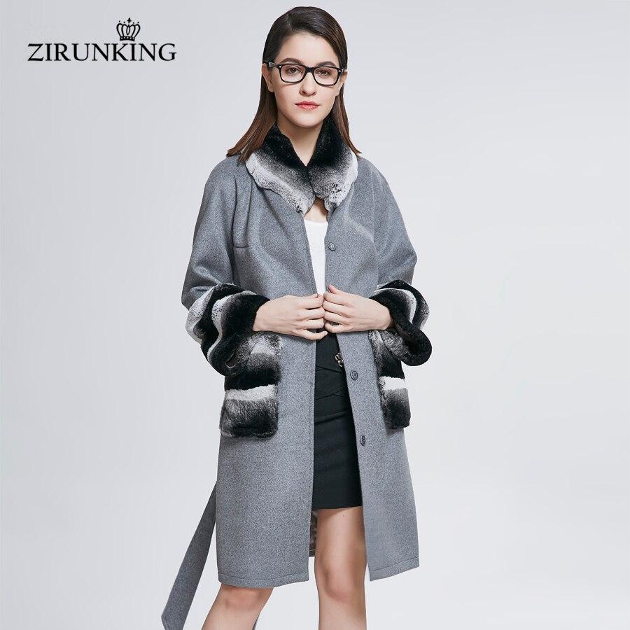 Fourrure Réel Vêtements Zc1806 Gris Dame Street Mode Naturelle Femme De Laine Avec High Manteaux Femmes Zirunking Lapin Parka 84qHn