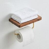 Bathroom Toilet Paper Holder Black Walnut Wood Roll Holder Stainless Steel Napkin Holder Kitchen Paper Towel Holder