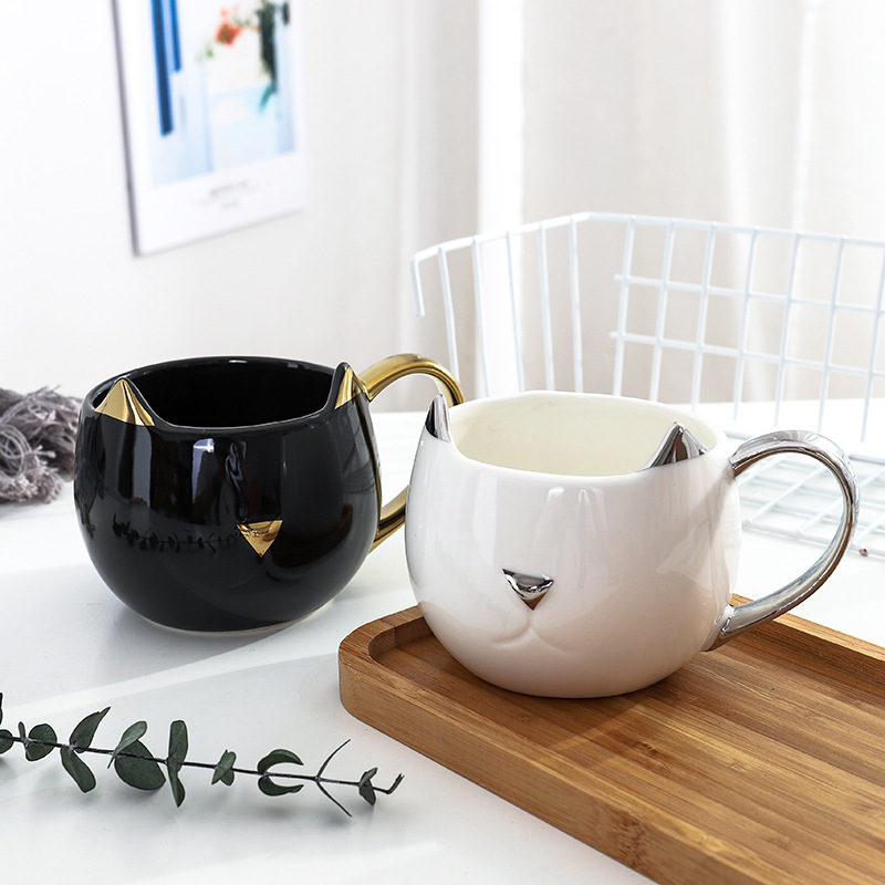 Cute <font><b>Cat</b></font> Coffee Mug with 3D Ears and Gold Silver Handle Ceramic Tea Water <font><b>Cup</b></font> Gift for Women Girls White Black 500ml image