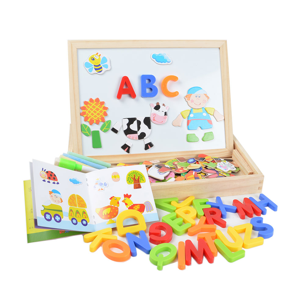 Multifunction Wood Animal Magnetic Puzzle Drawing Board & English Alphabet Letter Numbers Learning & Education Toys for Children Пазл
