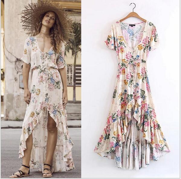a31986bfe585 2017 rayon and cotton Floral print hippie summer dress short sleeve large  swing Vintage Women dress Vestidos
