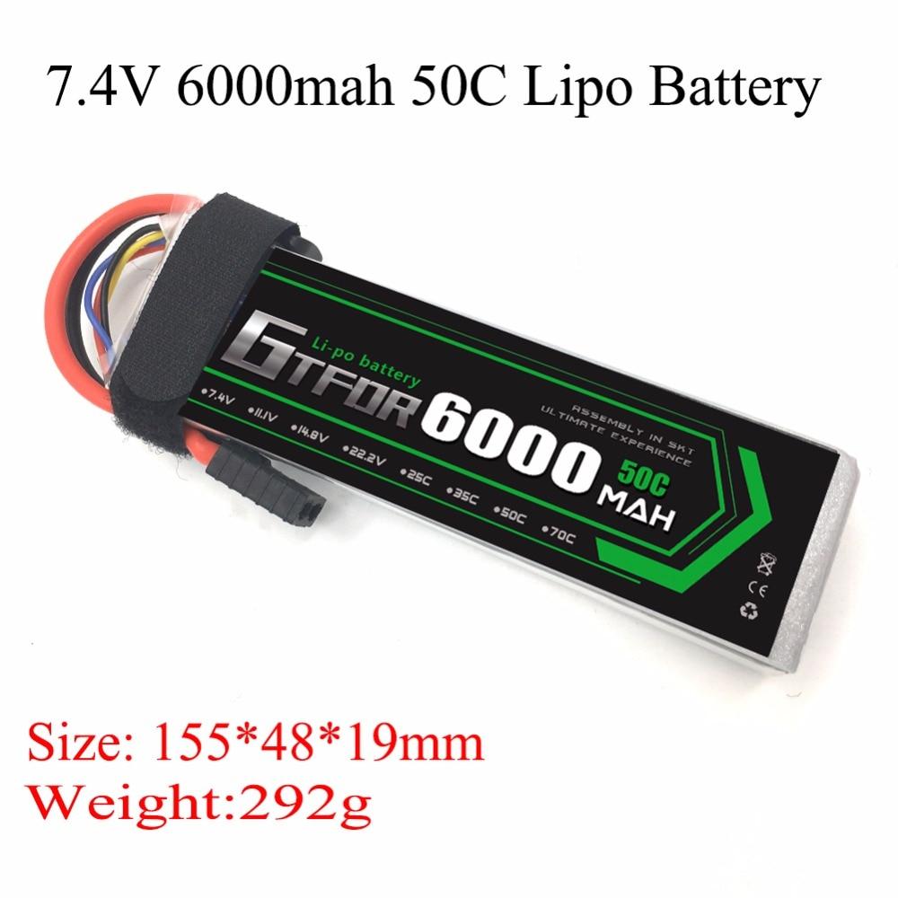 GTFDR 6000 mAh 7.4 V 50C 100C 2 S RC LiPo batterie pour Traxxas Slash 4x4 RC voiture 1/10 1/8 échelle traxxas trx-4