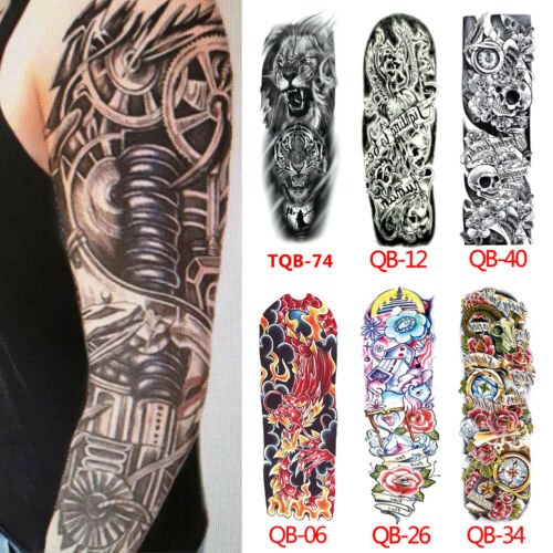 Hot Sales Full Arm Temporary Tattoo Sticker Skull Flower Dragon Eye Animal Waterproof Fake Sleeve Flash Tattoo For Men Woman image
