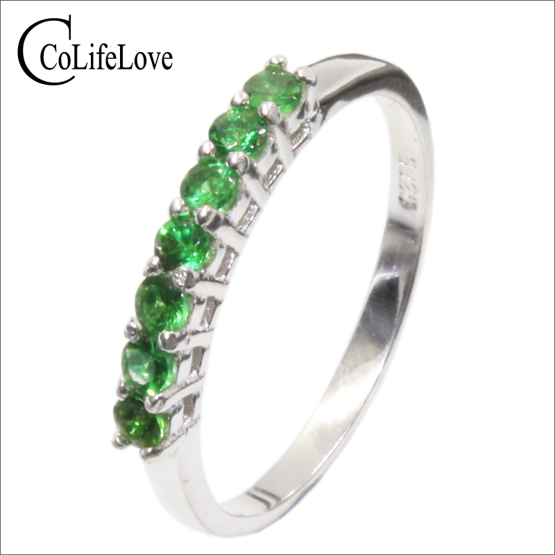 100% Natural Tsavorite Ring 7 Pcs 2.2 Mm Round Cut Tsavorite Silver Jewelry 925 Silver Tsavorite Ring Romantic Gift For Woman