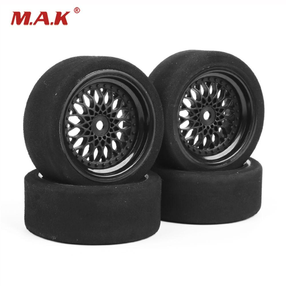 4 PCS/Set Unique Foam Tires Wheel Set 12mm Hex Fit HSP HPI 1/10 RC On-road Car 23001 1:10 rc car wheel