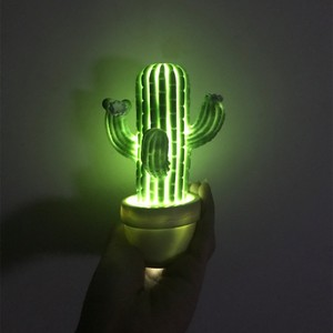 Cactus LED Lamp Night Light With Soft light Home Baby Room Decoration Soft Touch Safe Green Cute Present Gift for Kids Girl(China)