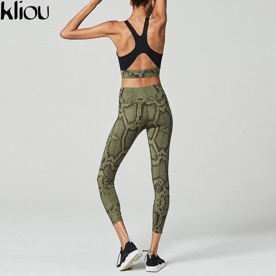 Kliou 2018 feminino pele de cobra imprimir 2 peças define volta oco para fora ativo usar sutiã de fitness leggings cintura elástica fatos de treino