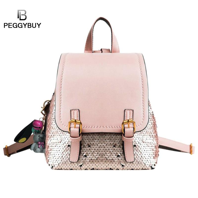 cd1374c966 Γυναίκες Backpack δερμάτινα κορίτσια μόδας στυλ Bling Sequins kawaii ...