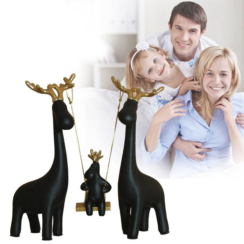 Europe résine une famille de quatre balançoire cerf table décoration de la maison artisanat animaux figurine halloween cabochon nouveaux cadeaux de maison - 2