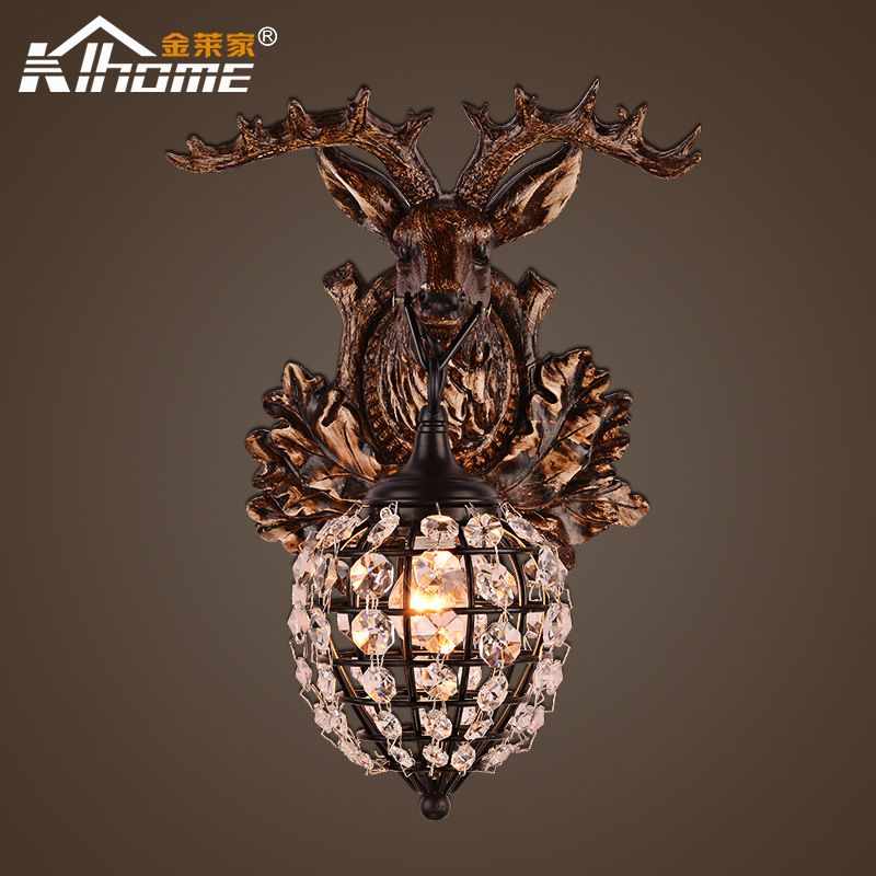 TUDA 28X40cm Free Shipping American Retro Style Wall Lamp Personality Resin Antlers Wall Lamp Crystal Lampshade Wall Lamp E27