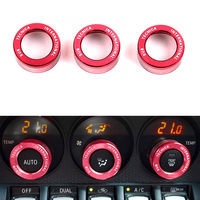 3PCS Red Anodized Aluminum Control AC Knob Volume Cover Trim Ring For Subaru BRZ GT86 FT86