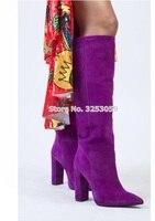 ALMUDENA/женские замшевые сапоги до колена на массивном каблуке, с изысканным украшением, фиолетового цвета, высокие сапоги в сдержанном стиле,